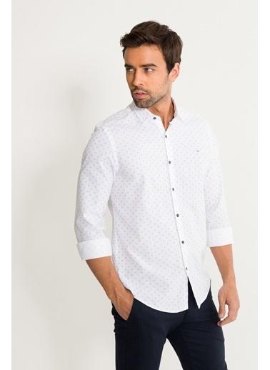 Avva Erkek  Çiçek Baskılı Klasik Yaka Gömlek A01S2213 Beyaz
